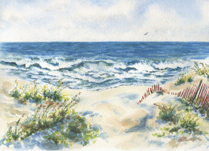 Seashore: Ocean painting ocean watercolor print seaside painting beach dunes painting beach art summer art print waves painting print giclee - Leigh Barry Watercolors