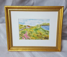 Load image into Gallery viewer, Summer Day: Ireland watercolor Irish art wall art home decor Irish cottage seaside coastal art framed art wall decor Ireland painting