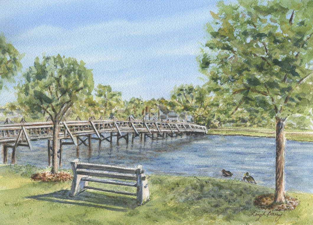 Spring Lake New Jersey original watercolor print framed wall art great wedding gift lake and bridge landscape painting - Leigh Barry Watercolors