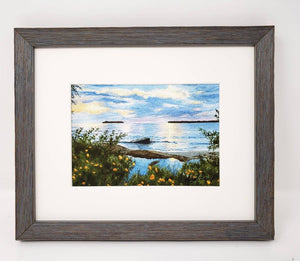 Summer Sunset painting watercolor lake sunset print framed Michigan landscape painting print Leigh Barry Watercolors sunset print framed - Leigh Barry Watercolors