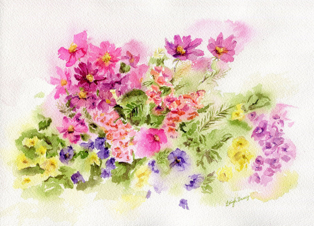 Summer colors: watercolor floral painting summer garden home decor flowers bathroom decor wall decor giclee print pink purple wall art - Leigh Barry Watercolors