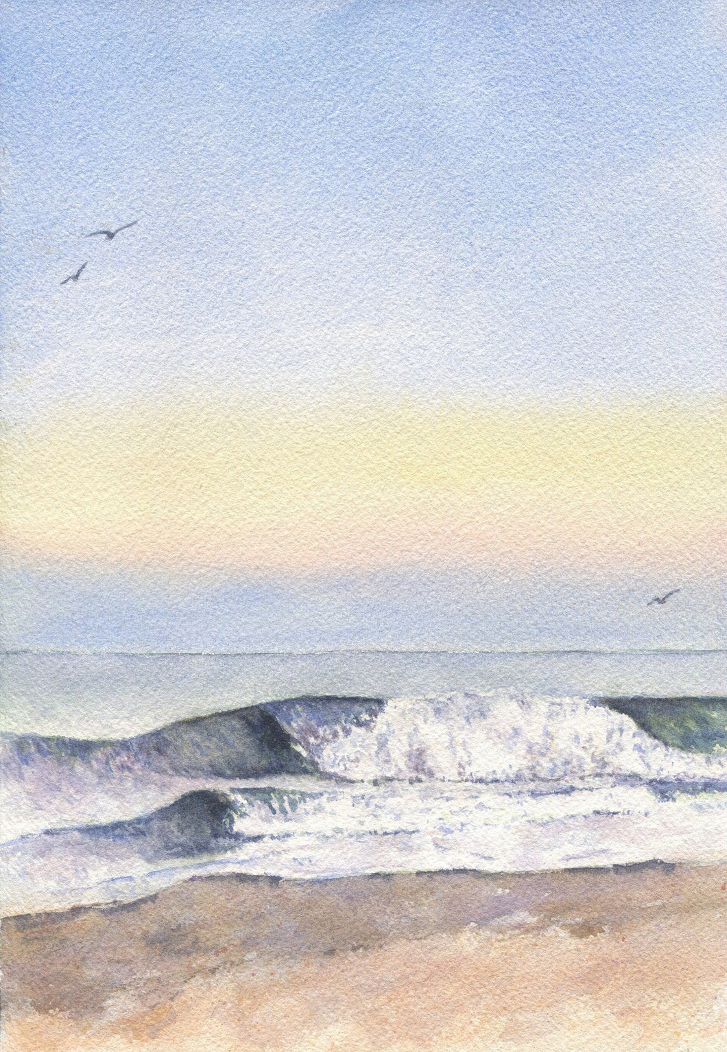 Low Tide: ocean print beach art watercolor seascape watercolor ocean framed beach print wave painting wave print sunset beach original art - Leigh Barry Watercolors