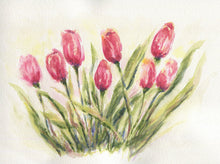 Load image into Gallery viewer, Tulips: Spring flowers tulip watercolor pink flower painting print framed housewarming gift floral art print original watercolor floral art - Leigh Barry Watercolors