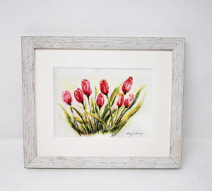 Tulips: Spring flowers tulip watercolor pink flower painting print framed housewarming gift floral art print original watercolor floral art - Leigh Barry Watercolors