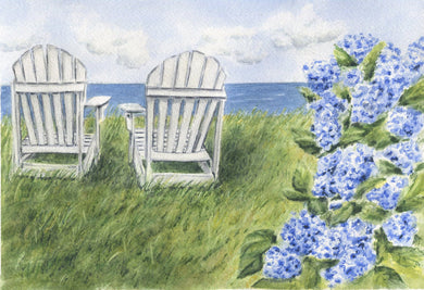 Nantucket Seaside: Nantucket Watercolor Print Or Original Painting Giclee Print Hydrangea Painting Hydrangeas art Cape Cod print seaside - Leigh Barry Watercolors