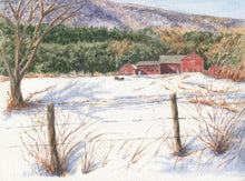 Load image into Gallery viewer, Vermont Farm barn painting New England winter snow scene painting Leigh Barry Watercolors Vermont art print mountain landscape painting