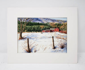 Vermont Farm barn painting New England winter snow scene painting Leigh Barry Watercolors Vermont art print mountain landscape painting