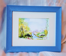 Load image into Gallery viewer, Winding Stream: watercolor painting woodland stream landscape floral green blue home decor framed art giclee print wall art archival