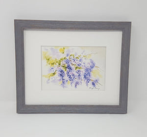 Wisteria:watercolor floral painting purple flowers giclee print archival original art framed art wall decor summer flowers bathroom decor - Leigh Barry Watercolors