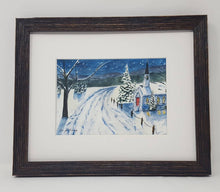 Load image into Gallery viewer, Winter Night: winter watercolor painting snow painting Christmas painting original snow painting framed watercolor painting winter art frame - Leigh Barry Watercolors