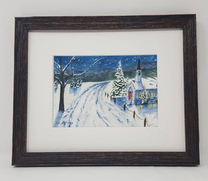 Winter Night: winter watercolor painting snow painting Christmas painting original snow painting framed watercolor painting winter art frame - Leigh Barry Watercolors