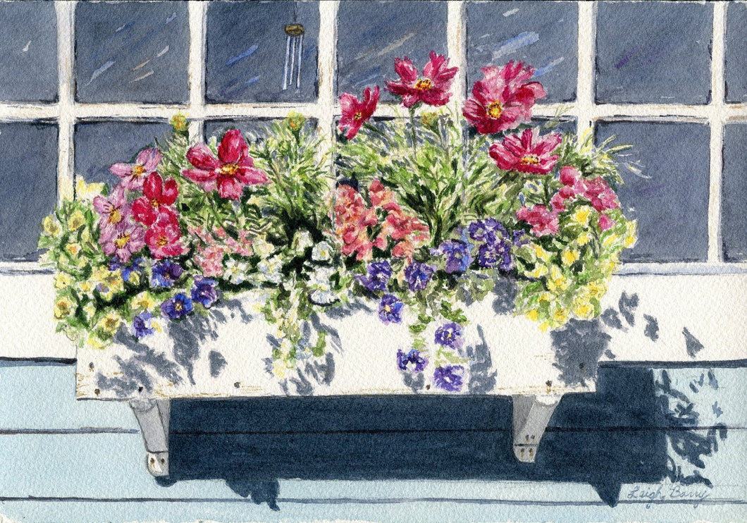 Window Box floral watercolor painting floral painting flower box painting framed wall art print home decor Leigh Barry colorful art print