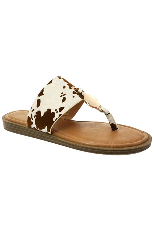 Cow Print Harper Thong Sandals