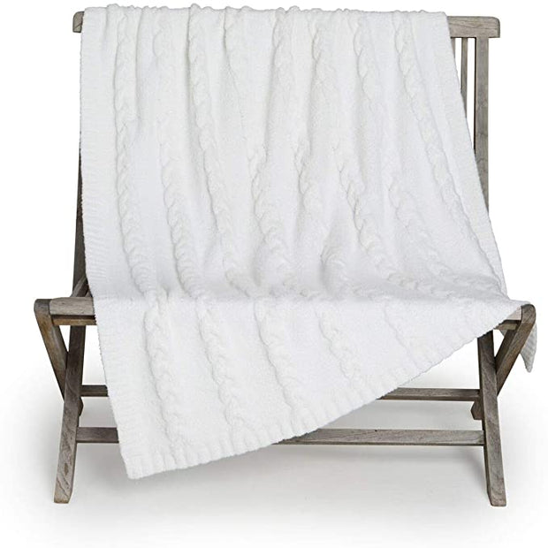 CozyChic Lite Heathered Cable Blanket - Pearl White