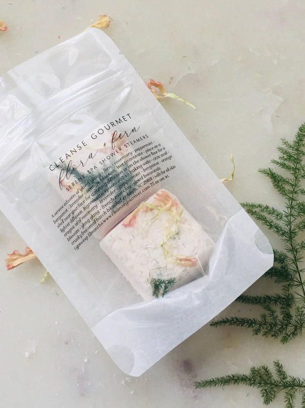 Cleanse Gourmet Fresh Bath Products | flora + fern shower steamers 2 pack serene spa infusion