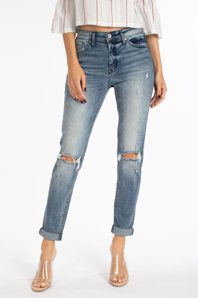 High Rise Hem Detail Mom Jeans-KC8356M