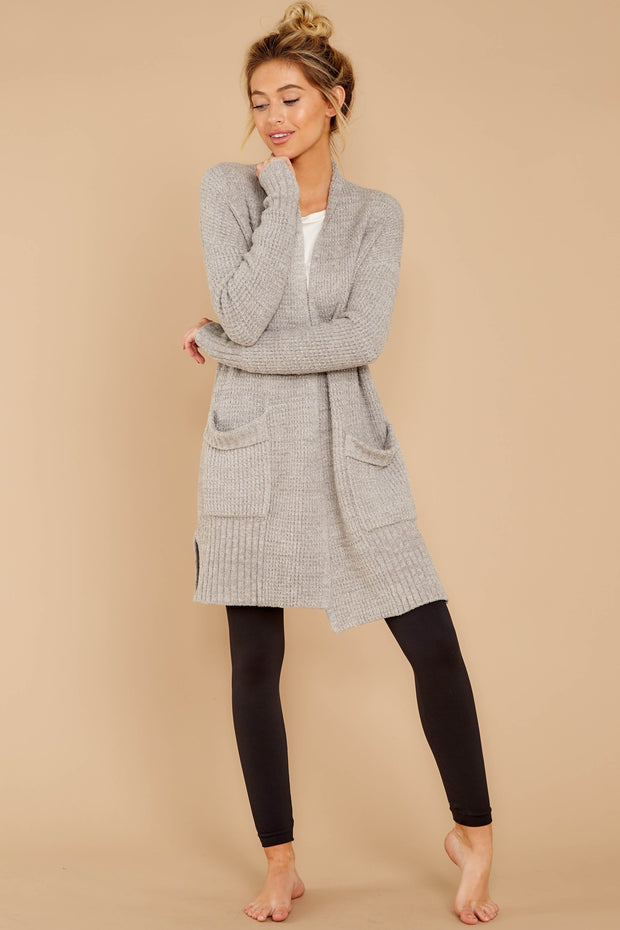Barefoot Dreams CozyChic Lite Long Weekend Cardigan - Pewter