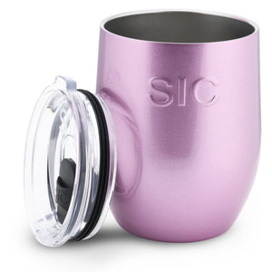 SIC Stemless Wine Cup 16 oz-Pink Glitter
