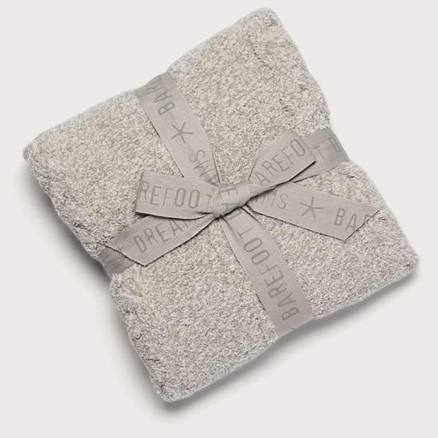 CozyChic Heathered Cable Baby Blanket-Dove Gray