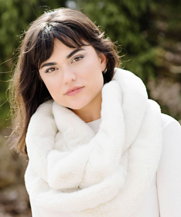 Ruffled Eternity Scarf Ivory Mink - Palencia's Market Street Boutique