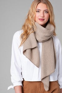 Fuzzy soft wrap scarf with uneven finished edge - Palencia's Market Street Boutique