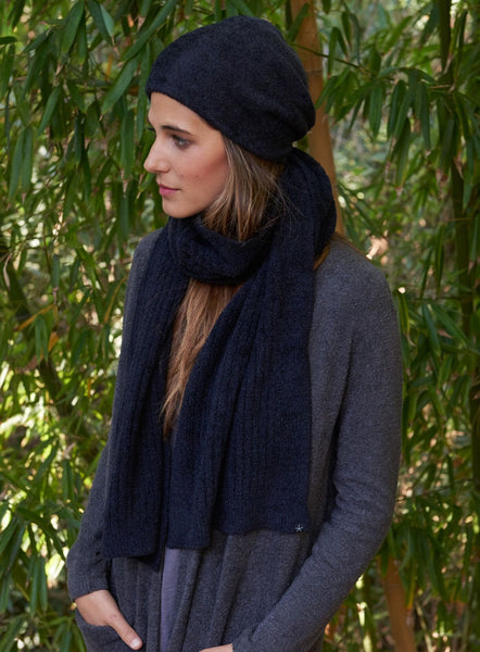 Barefoot Dreams Bamboo Chic Lite Ribbed Scarf- BLACK