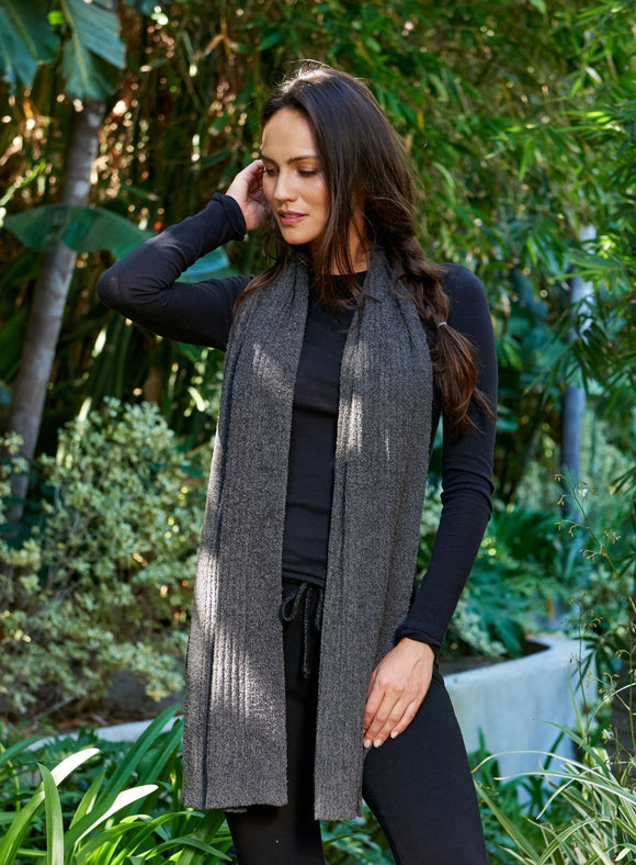 Barefoot Dreams Bamboo Chic Lite Ribbed Scarf- CARBON - Palencia's Market Street Boutique