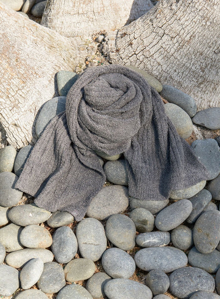 Barefoot Dreams Bamboo Chic Lite Ribbed Scarf- GRAPHITE