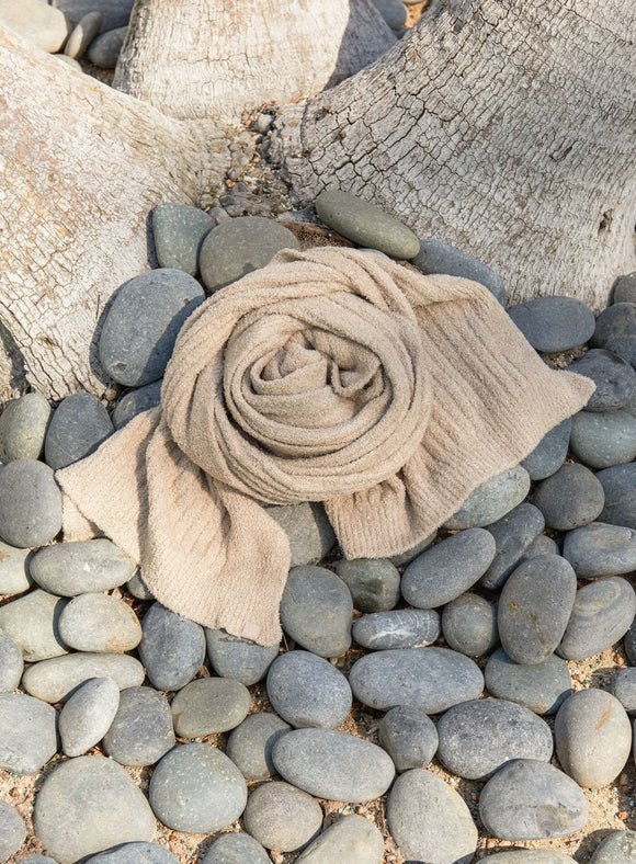 Barefoot Dreams Bamboo Chic Lite Ribbed Scarf - SAND - Palencia's Market Street Boutique