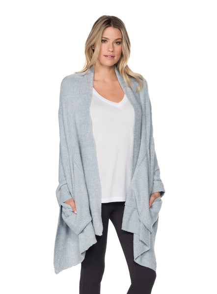 Barefoot Dreams Bamboo Chic Lite Heathered Ribber Travel Shaw- CHAMBRAY PEARL