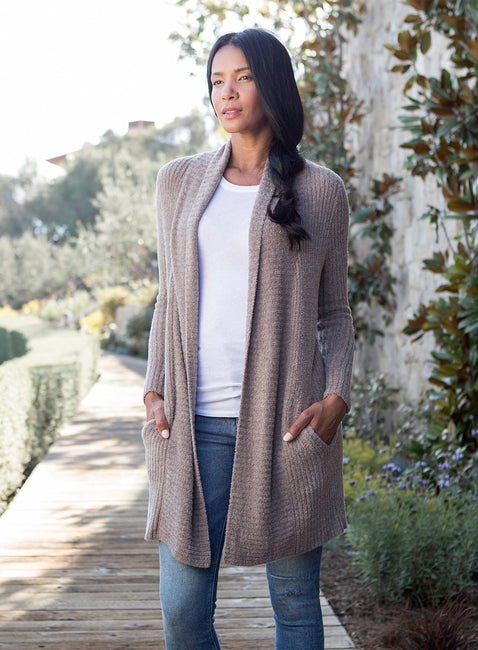 Barefoot Dreams CozyChic Lite Montecito Cardigan - Driftwood/Taupe - Palencia's Market Street Boutique