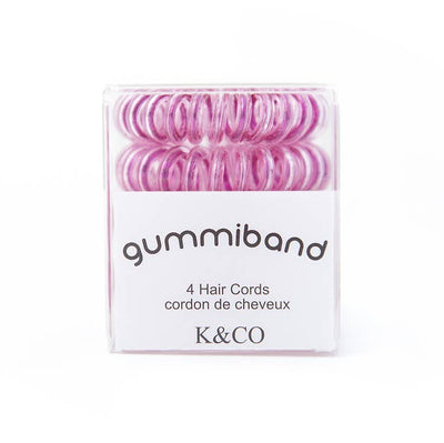 Box of 4 GummiBand Hair Cords, Hair Ties - Metallic Pink