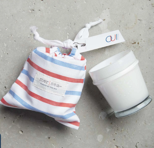 Striped Sandbag Candle 7 oz.-Oui - Palencia's Market Street Boutique