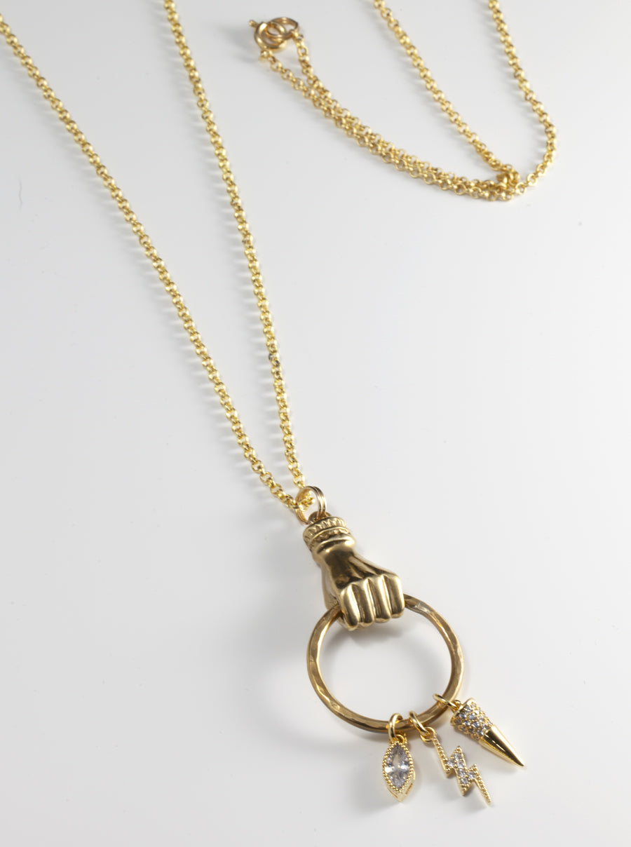 Get a Grip Long Charm Necklace