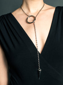 Large Silver Lariat on Faceted Rhodium Chain
