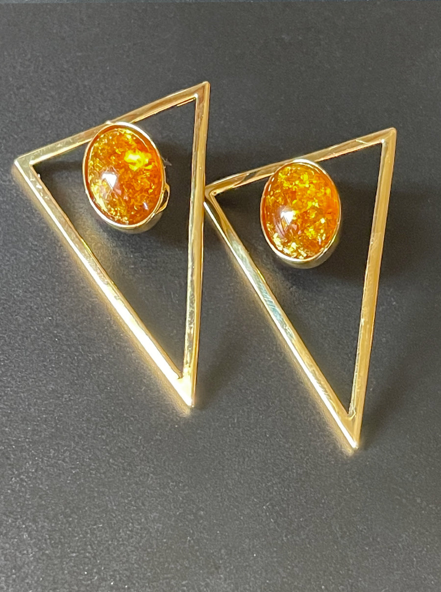 Triangle Statement Earrings - Amber