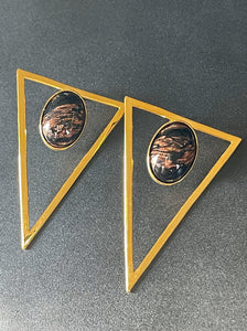 Triangle Statement Earrings - Black Metallic