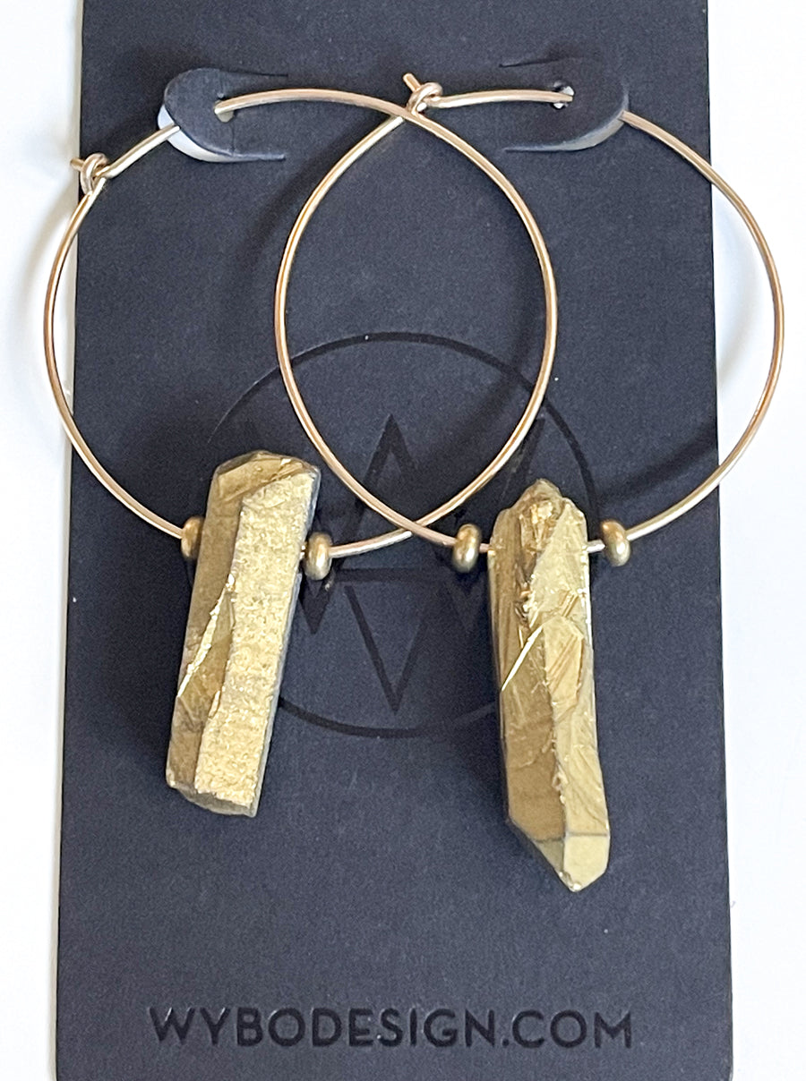 Gold Raw Crystal Hoops