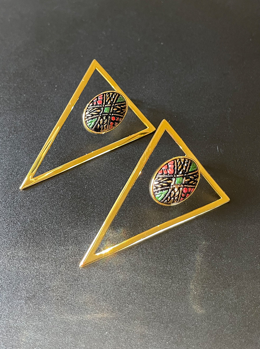 Gold Triangle Statement Earrings - Filigree