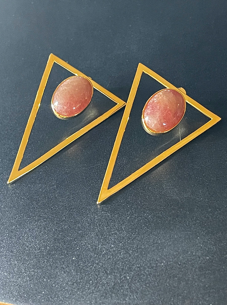 Gold Triangle Statement Earrings - Strawberry
