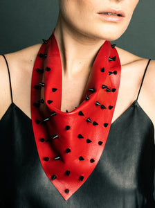 Red Leather with Black Spikes