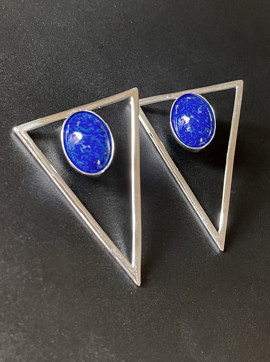 Silver Triangle Statement Earrings - Cobalt
