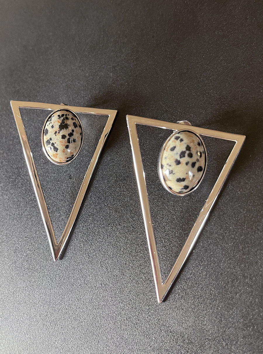Silver Triangle Statement Earrings - Dalmation