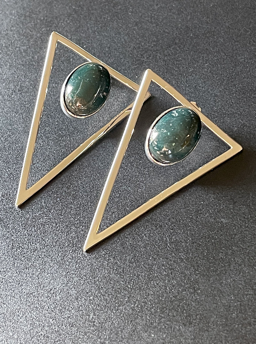 Silver Triangle Statement Earrings - Forest
