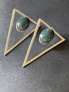 Triangle Statement Earrings - Forest