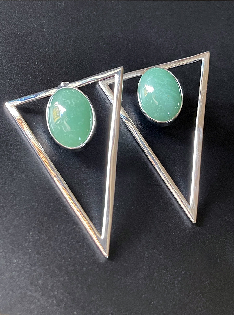 Silver Triangle Statement Earrings - Seafoam