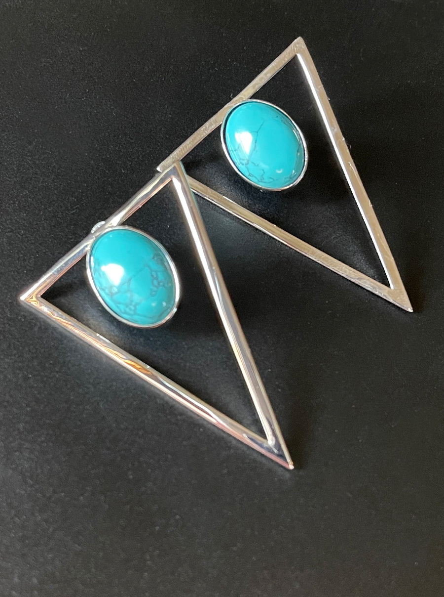 Silver Triangle Statement Earrings - Turquoise