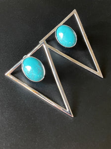Triangle Statement Earrings - Turquoise