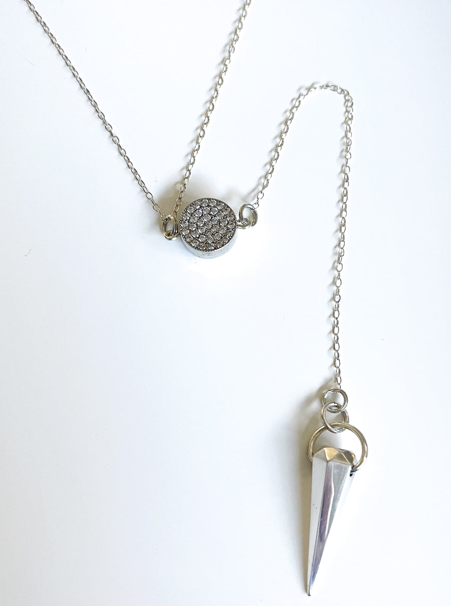 Silver Spike Pendulum Necklace