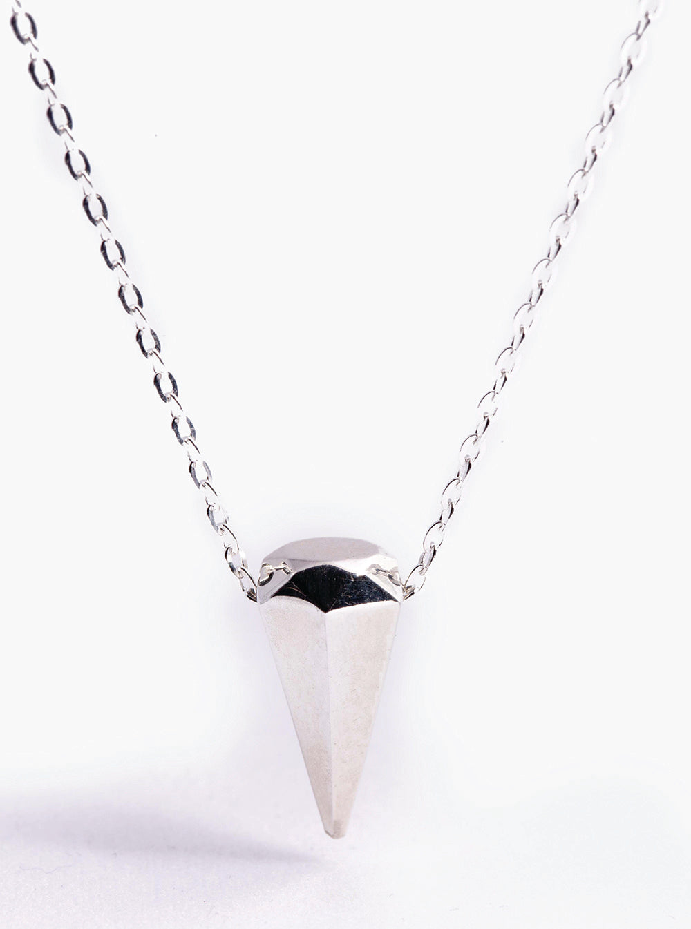 Mini Silver Diamond Spike Necklace